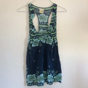 Free People Navy Blue Floral Flowy Tank Top